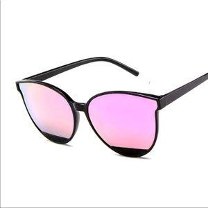 NEW Pink Retro Cat Eye Sunglasses Mirrored UV400